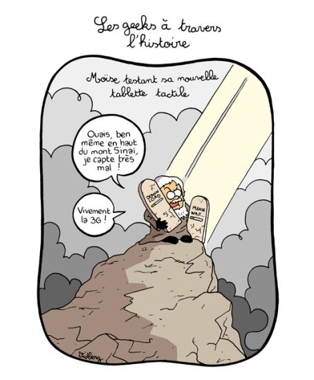 Moïse testant sa nouvelle tablette tactile
